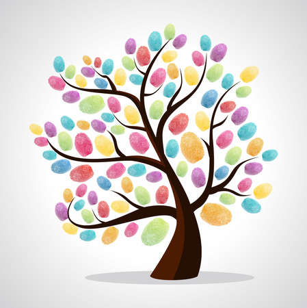 Diversity color tree finger prints illustration background. file layered for easy manipulation and custom coloring.