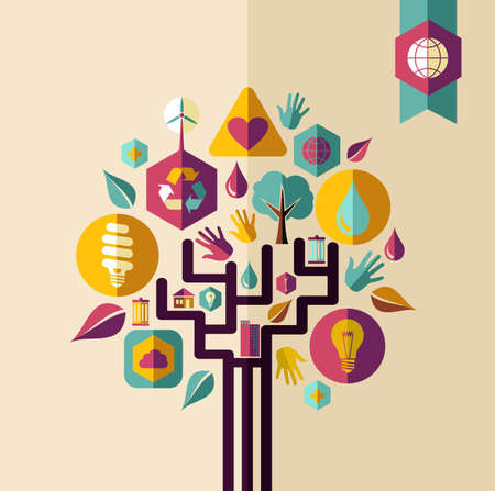 Retro style save the Earth tree idea with icons set. This illustration is layered for easy manipulation and custom coloring Vector