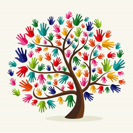 community help: Diversity multi-ethnic hand tree illustration over stripe pattern background.  file layered for easy manipulation and custom coloring. Illustration