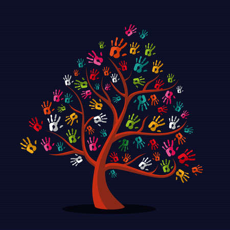 multi media: Diversit� solidariet� mano stampe illustrazione albero su striscia pattern di sfondo. file con livelli di facile manipolazione e la colorazione personalizzata.