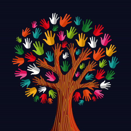 Colorful diversity tree hands illustration.illustration layered for easy manipulation and custom coloring. Vector