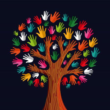 Kleurrijke diversiteit boom handen illustration.illustration gelaagd voor eenvoudige manipulatie en aangepaste kleuren.