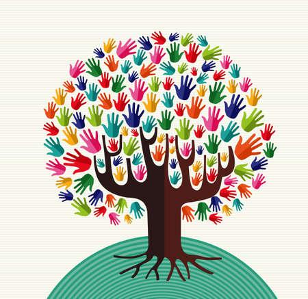 Kleurrijke diversiteit boom handen illustratie op streeppatroon achtergrond. bestand gelaagd voor eenvoudige manipulatie en aangepaste kleuren.