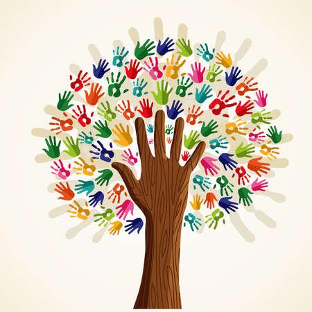 diversidad: Aislado solidaridad colorido árbol conceptual. archivo de capas para la manipulación fácil y colorante de encargo. Vectores