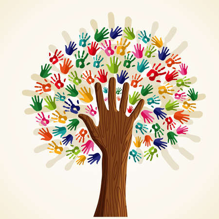 Colorful solidarity isolated conceptual tree.  file layered for easy manipulation and custom coloring. Ilustrace
