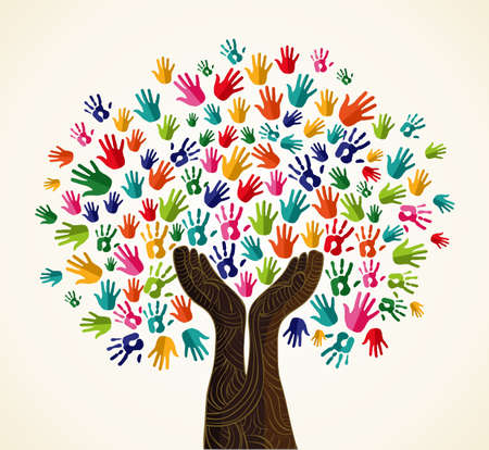 community help: Colorful multi-cultural integration concept tree set.  file layered for easy manipulation and custom coloring. Illustration