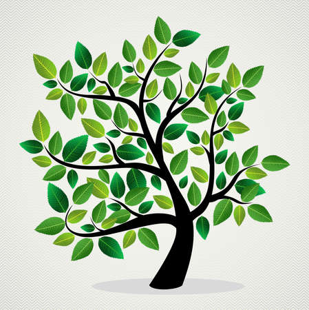 family outside: Green leaf eco friendly tree design background.  file layered for easy manipulation and custom coloring. Illustration