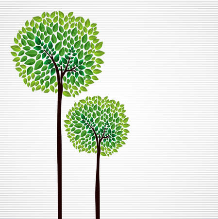 Trendy geïsoleerde groene bomen bostekening. bestand gelaagd voor eenvoudige manipulatie en aangepaste kleuren. Stock Illustratie