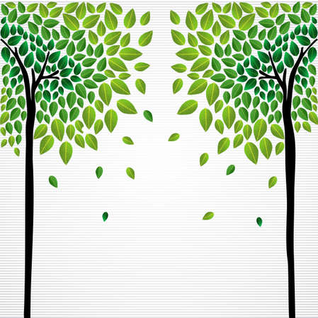 back ground: Cute isolated green trees leaves design. file layered for easy manipulation and custom coloring.    Illustration