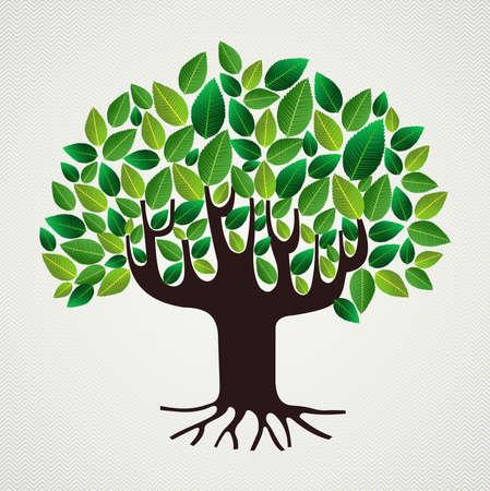 緑の葉の強いトランクの木の設計。ファイルの簡単な操作とカスタム着色層。