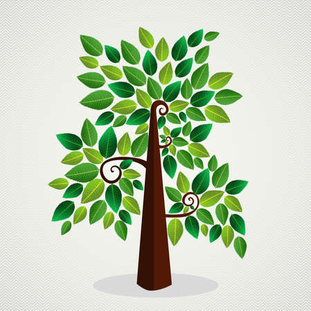 Cute environment green tree leaf background.  file layered for easy manipulation and custom coloring.    Vector