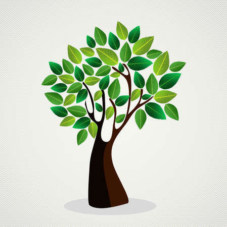 トレンディな緑の木葉デザイン。ファイルの簡単な操作とカスタム着色層。  イラスト・ベクター素材