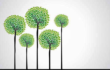 Cute green tree forest design. file layered for easy edition.  Illustration
