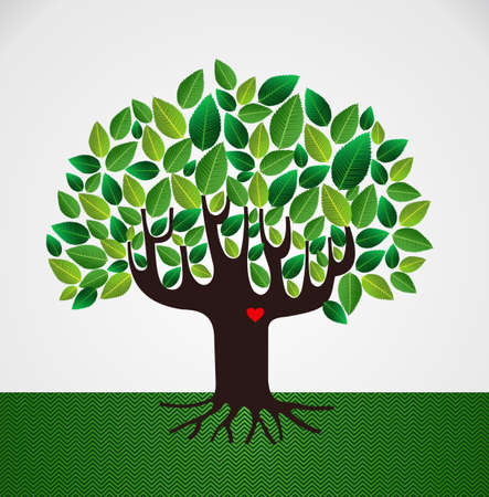 Go green leaf heart love tree design. file layered for easy manipulation and custom coloring.