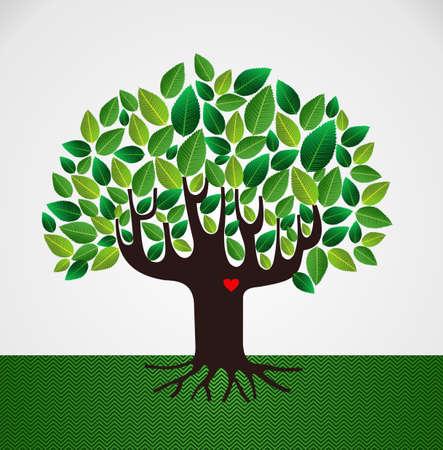 arbol genealógico: Ir diseño del corazón árbol de amor hoja verde. archivo de capas para la manipulación fácil y colorante de encargo. Vectores