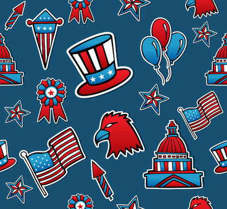 Patriotic hand drawn USA icons seamless pattern set. file layered for easy manipulation and custom coloring. Vector
