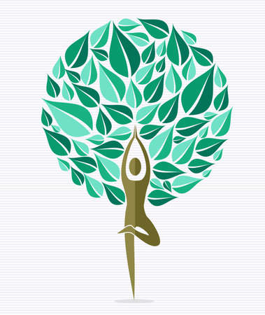 Human shape yoga exercise tree design.  file layered for easy manipulation and custom coloring. Vector
