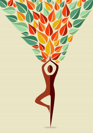 Human shape yoga exercise leaves tree design.  file layered for easy manipulation and custom coloring. Ilustração