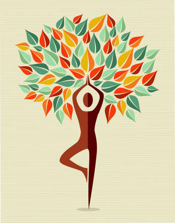 Human shape yoga exercise tree leaves design. file layered for easy manipulation and custom coloring.