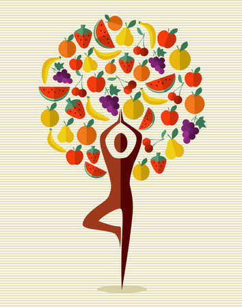 Human shape yoga exercise tree fruits design.  file layered for easy manipulation and custom coloring. Vector