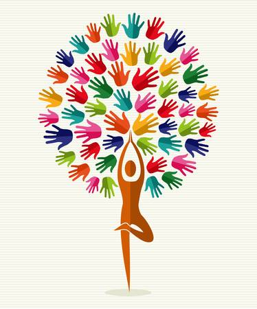 spiritual: Human shape yoga exercise tree design. file layered for easy manipulation and custom coloring.