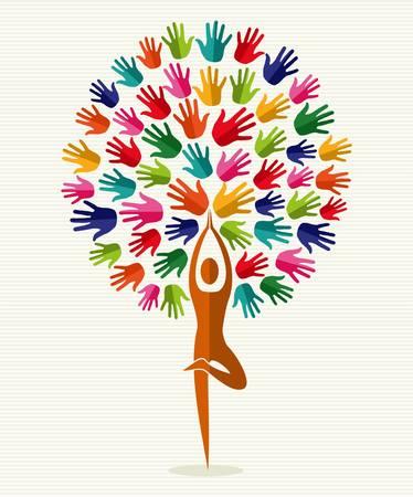 yoga: Yoga conception d'arbre d'entraînement de la forme humaine. fichier en couches pour une manipulation facile et la coloration personnalisée. Illustration