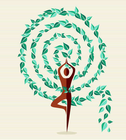 Spiral shape yoga exercise tree design. file layered for easy manipulation and custom coloring. Vector