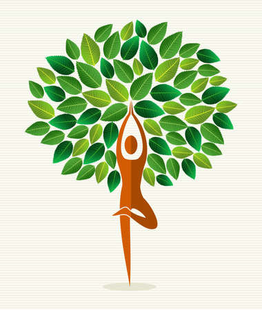 Human shape yoga exercise tree design.  file layered for easy manipulation and custom coloring.