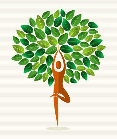 Menselijke vorm yoga oefening boom ontwerp. bestand gelaagd voor eenvoudige manipulatie en aangepaste kleuren.
