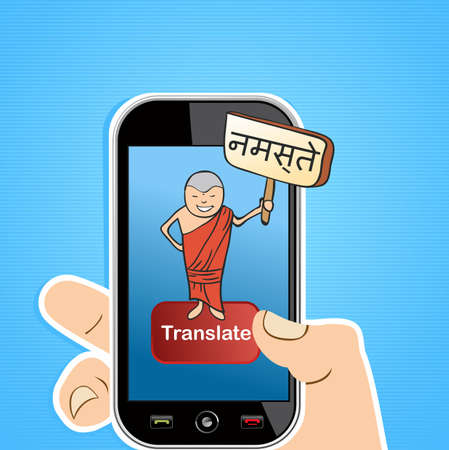 translate: Hand with mobile device using an online English Indi translation app. illustration layered for easy editing. Illustration
