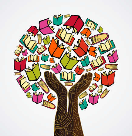 Global education concept tree hand books.  file layered for easy manipulation and custom coloring.   Vector