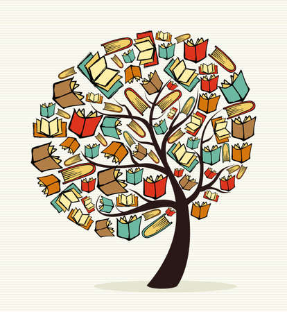 book cover: Global education concept tree made with books.  file layered for easy manipulation and custom coloring.    Illustration