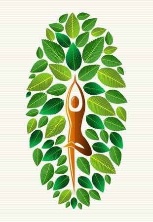 fanciful: Yoga exercise human leaf tree design. file layered for easy manipulation and custom coloring. Illustration