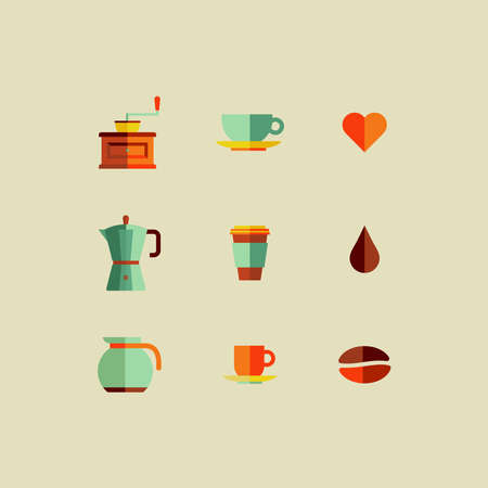 coffee machine: Colorful coffee shop icon set. Vector file layered for easy manipulation and custom coloring.