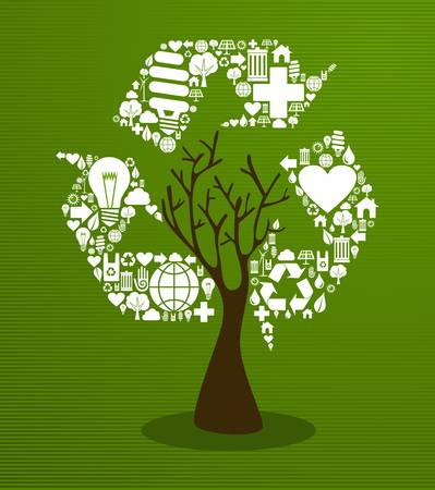 Recycle symbol with eco friendly save the planet tree.  Vector