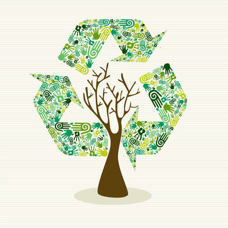 Human hands recycle symbol shape tree. Vector