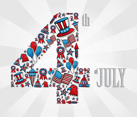 4th of july independence day illustration, white background. Vector