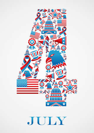 4th july independence day 4 shape illustration.  Vector