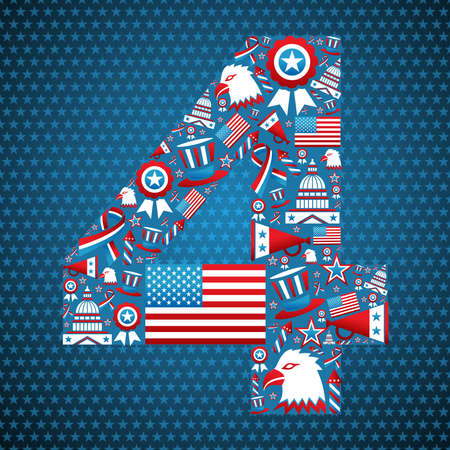 4th of july independence day shape illustration, stars background.  Vector