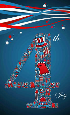 4th of july independence day illustration, blue background.  Vector