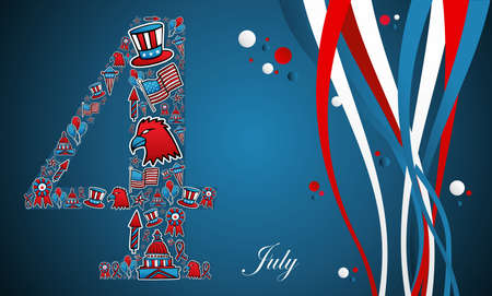 national holiday: 4th of july independence day illustration.  Illustration