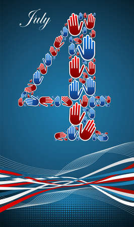 4th of july independence day human hands illustration, blue background. Vector