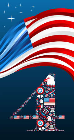 4th of july independence day illustration.  Vector