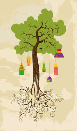 community garden: Sustainable development tree  over grunge background.  Illustration
