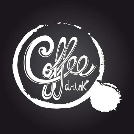 Vintage coffee drink blackboard illustration. Vector