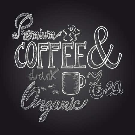 chicchi caff� su sfondo bianco: Vintage premio bere caff� schizzo stile poster lavagna.
