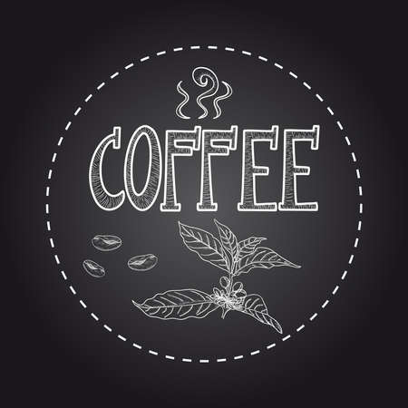 caffeine: Vintage Coffee plant text poster.  Illustration