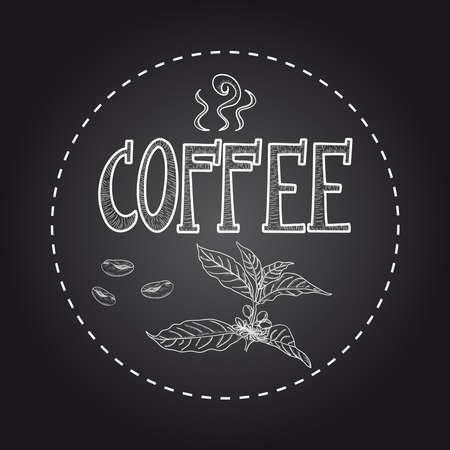 chicchi caff� su sfondo bianco: Vintage pianta caff� manifesto testo. Vettoriali