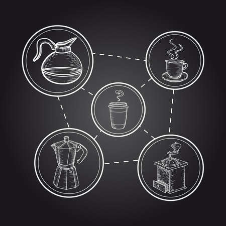 Vintage Coffee elements poster illustration. Vector