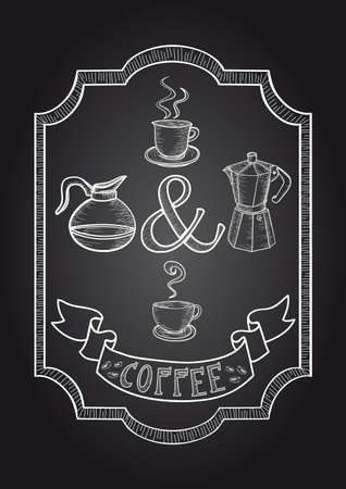 Vintage coffee poster illustration. Vector